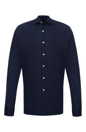 Мужская хлопковая рубашка SONRISA синего цвета, арт. IFJ17/J132/47-51 | Фото 1 (Длина (для топов): Стандартные; Материал внешний: Хлопок; Рукава: Длинные; Случай: Повседневный; Воротник: Акула; Принт: Однотонные; Рубашки М: Regular Fit; Манжеты: На пуговицах; Стили: Кэжуэл; Big sizes: Big Sizes)