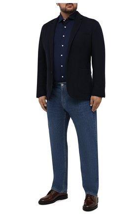 Мужская хлопковая рубашка SONRISA синего цвета, арт. IFJ17/J132/47-51 | Фото 2 (Длина (для топов): Стандартные; Материал внешний: Хлопок; Рукава: Длинные; Случай: Повседневный; Воротник: Акула; Принт: Однотонные; Рубашки М: Regular Fit; Манжеты: На пуговицах; Стили: Кэжуэл; Big sizes: Big Sizes)