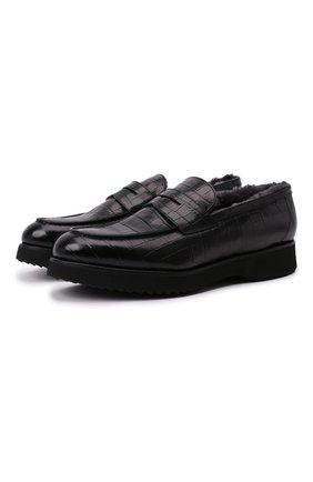Мужские кожаные пенни-лоферы DOUCAL'S черного цвета, арт. DU2483DAK0UM023NN00 | Фото 1 (Материал утеплителя: Натуральный мех; Стили: Классический; Мужское Кросс-КТ: Лоферы-обувь)