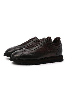 Мужские кожаные кроссовки DOUCAL'S темно-коричневого цвета, арт. DU2880WINNPM019TM00 | Фото 1 (Подошва: Массивная; Материал утеплителя: Натуральный мех; Стили: Классический)