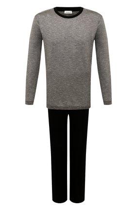 Мужская хлопковая пижама ZIMMERLI черного цвета, арт. 3420-96050 | Фото 1 (Рукава: Длинные; Длина (брюки, джинсы): Стандартные; Длина (для топов): Стандартные; Материал внешний: Хлопок; Кросс-КТ: домашняя одежда)