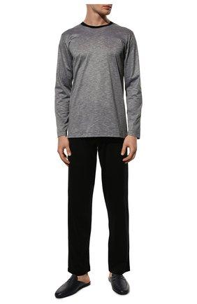 Мужская хлопковая пижама ZIMMERLI черного цвета, арт. 3420-96050 | Фото 2 (Рукава: Длинные; Длина (брюки, джинсы): Стандартные; Длина (для топов): Стандартные; Материал внешний: Хлопок; Кросс-КТ: домашняя одежда)