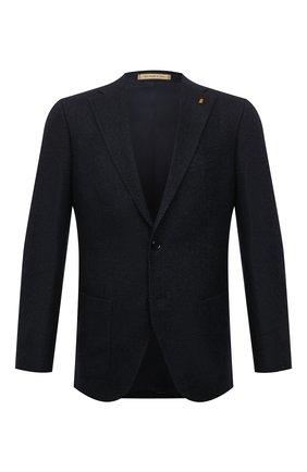 Мужской пиджак SARTORIA LATORRE темно-синего цвета, арт. G0I7MF UA0710 | Фото 1 (Длина (для топов): Стандартные; Рукава: Длинные; Материал внешний: Шерсть, Синтетический материал; Материал подклада: Купро; Пиджаки М: Приталенный; Случай: Коктейльный; 1-2-бортные: Однобортные; Стили: Классический)