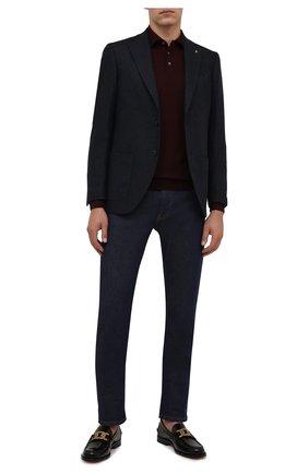 Мужской пиджак SARTORIA LATORRE темно-синего цвета, арт. G0I7MF UA0710 | Фото 2 (Длина (для топов): Стандартные; Рукава: Длинные; Материал внешний: Шерсть, Синтетический материал; Материал подклада: Купро; Пиджаки М: Приталенный; Случай: Коктейльный; 1-2-бортные: Однобортные; Стили: Классический)