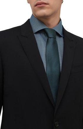 Мужской шелковый галстук LANVIN бирюзового цвета, арт. 3503/TIE   Фото 2 (Материал: Текстиль, Шелк; Принт: С принтом)