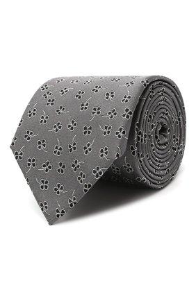 Мужской шелковый галстук LANVIN серого цвета, арт. 3221/TIE | Фото 1 (Материал: Текстиль, Шелк; Принт: С принтом)