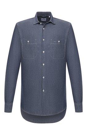 Мужская хлопковая рубашка ASPESI синего цвета, арт. W1 A AEC1 E542 | Фото 1 (Материал внешний: Хлопок; Рукава: Длинные; Длина (для топов): Стандартные; Случай: Повседневный; Воротник: Кент; Принт: Однотонные; Манжеты: На пуговицах; Стили: Кэжуэл)