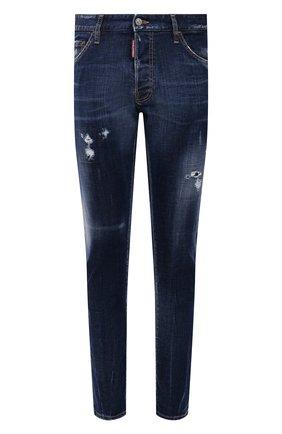 Мужские джинсы DSQUARED2 темно-синего цвета, арт. S71LB0988/S30342   Фото 1 (Длина (брюки, джинсы): Стандартные; Материал внешний: Хлопок; Кросс-КТ: Деним; Силуэт М (брюки): Прямые; Стили: Гранж)