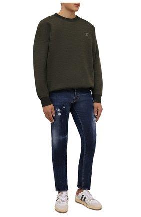 Мужские джинсы DSQUARED2 темно-синего цвета, арт. S71LB0988/S30342   Фото 2 (Длина (брюки, джинсы): Стандартные; Материал внешний: Хлопок; Кросс-КТ: Деним; Силуэт М (брюки): Прямые; Стили: Гранж)