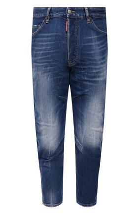Мужские джинсы DSQUARED2 синего цвета, арт. S71LB0948/S30663   Фото 1 (Материал внешний: Хлопок; Длина (брюки, джинсы): Укороченные; Кросс-КТ: Деним; Силуэт М (брюки): Прямые; Стили: Гранж)