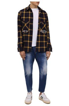 Мужские джинсы DSQUARED2 синего цвета, арт. S71LB0948/S30663   Фото 2 (Материал внешний: Хлопок; Длина (брюки, джинсы): Укороченные; Кросс-КТ: Деним; Силуэт М (брюки): Прямые; Стили: Гранж)