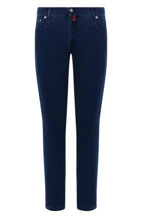 Мужские джинсы KITON темно-синего цвета, арт. UPNJSJ0337A   Фото 1 (Длина (брюки, джинсы): Стандартные; Материал внешний: Хлопок; Кросс-КТ: Деним; Силуэт М (брюки): Прямые; Стили: Кэжуэл)