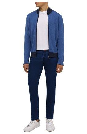 Мужские джинсы KITON темно-синего цвета, арт. UPNJSJ0337A   Фото 2 (Длина (брюки, джинсы): Стандартные; Материал внешний: Хлопок; Кросс-КТ: Деним; Силуэт М (брюки): Прямые; Стили: Кэжуэл)