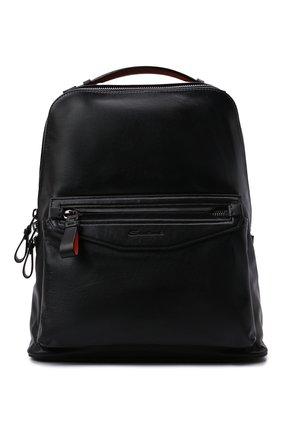 Мужской кожаный рюкзак SANTONI черного цвета, арт. UIBBA2107LI-GGTQN01 | Фото 1 (Материал: Натуральная кожа)