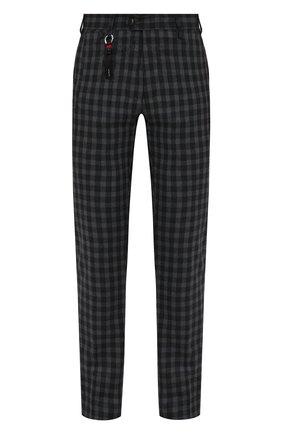 Мужские шерстяные брюки MARCO PESCAROLO темно-серого цвета, арт. SLIM80/ZIP/4427 | Фото 1 (Материал внешний: Шерсть; Материал подклада: Хлопок; Длина (брюки, джинсы): Стандартные; Случай: Повседневный; Стили: Кэжуэл)