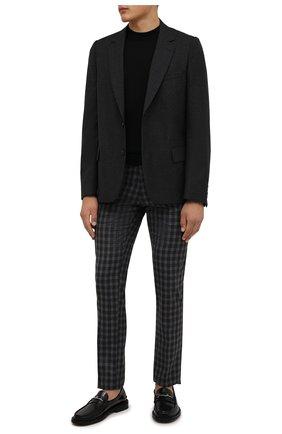 Мужские шерстяные брюки MARCO PESCAROLO темно-серого цвета, арт. SLIM80/ZIP/4427 | Фото 2 (Материал внешний: Шерсть; Материал подклада: Хлопок; Длина (брюки, джинсы): Стандартные; Случай: Повседневный; Стили: Кэжуэл)