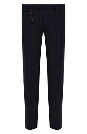 Мужские брюки из шерсти и кашемира MARCO PESCAROLO темно-синего цвета, арт. SLIM80/ZIP/4434   Фото 1 (Материал подклада: Хлопок; Материал внешний: Шерсть; Длина (брюки, джинсы): Стандартные; Случай: Повседневный; Стили: Кэжуэл)