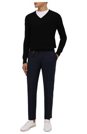 Мужские брюки из шерсти и кашемира MARCO PESCAROLO темно-синего цвета, арт. SLIM80/ZIP/4434   Фото 2 (Материал подклада: Хлопок; Материал внешний: Шерсть; Длина (брюки, джинсы): Стандартные; Случай: Повседневный; Стили: Кэжуэл)