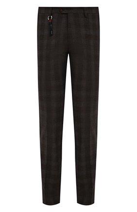 Мужские брюки из шерсти и кашемира MARCO PESCAROLO коричневого цвета, арт. SLIM80/ZIP/4434 | Фото 1 (Материал внешний: Шерсть; Длина (брюки, джинсы): Стандартные; Материал подклада: Хлопок; Случай: Повседневный; Стили: Кэжуэл)