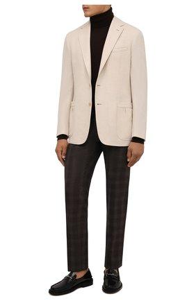 Мужские брюки из шерсти и кашемира MARCO PESCAROLO коричневого цвета, арт. SLIM80/ZIP/4434 | Фото 2 (Материал внешний: Шерсть; Длина (брюки, джинсы): Стандартные; Материал подклада: Хлопок; Случай: Повседневный; Стили: Кэжуэл)
