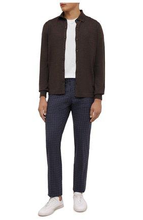 Мужские кашемировые брюки MARCO PESCAROLO синего цвета, арт. SLIM80/ZIP/4446   Фото 2 (Материал подклада: Хлопок; Длина (брюки, джинсы): Стандартные; Материал внешний: Шерсть, Кашемир; Случай: Повседневный; Стили: Кэжуэл)