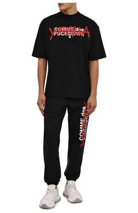 Мужская хлопковая футболка COMME DES FUCKDOWN черного цвета, арт. CDFU1348 | Фото 2 (Длина (для топов): Стандартные; Рукава: Короткие; Материал внешний: Хлопок; Принт: С принтом; Стили: Спорт-шик, Гранж)