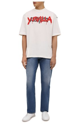 Мужская хлопковая футболка COMME DES FUCKDOWN кремвого цвета, арт. CDFU1348 | Фото 2 (Длина (для топов): Стандартные; Рукава: Короткие; Материал внешний: Хлопок; Принт: С принтом; Стили: Спорт-шик, Гранж)