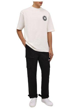 Мужская хлопковая футболка COMME DES FUCKDOWN кремвого цвета, арт. CDFU1320   Фото 2 (Материал внешний: Хлопок; Длина (для топов): Стандартные; Принт: С принтом; Рукава: Короткие; Стили: Спорт-шик)