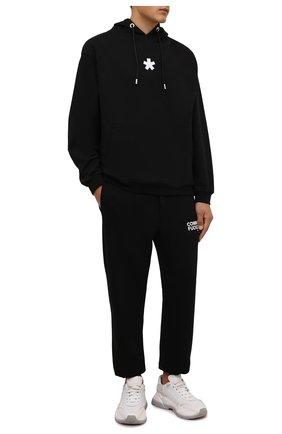 Мужской хлопковое худи COMME DES FUCKDOWN черного цвета, арт. CDFU1306 | Фото 2 (Материал внешний: Хлопок; Рукава: Длинные; Длина (для топов): Стандартные; Мужское Кросс-КТ: Худи-одежда; Стили: Спорт-шик)