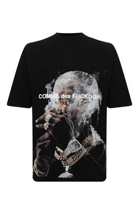 Мужская хлопковая футболка COMME DES FUCKDOWN черного цвета, арт. CDFU1301 | Фото 1 (Рукава: Короткие; Длина (для топов): Стандартные; Материал внешний: Хлопок; Принт: С принтом; Стили: Гранж)