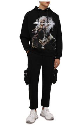 Мужской хлопковое худи COMME DES FUCKDOWN черного цвета, арт. CDFU1300 | Фото 2 (Рукава: Длинные; Материал внешний: Хлопок; Длина (для топов): Стандартные; Мужское Кросс-КТ: Худи-одежда; Стили: Спорт-шик)
