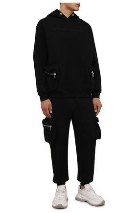 Мужской хлопковое худи COMME DES FUCKDOWN черного цвета, арт. CDFU1289 | Фото 2 (Материал внешний: Хлопок; Рукава: Длинные; Длина (для топов): Стандартные; Мужское Кросс-КТ: Худи-одежда; Стили: Спорт-шик; Принт: Без принта)