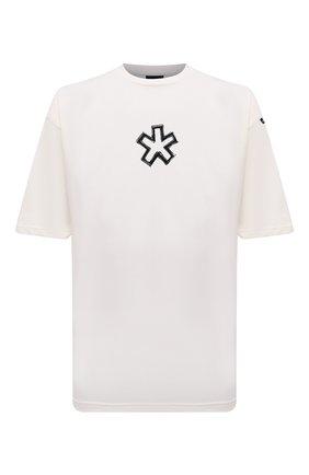 Мужская хлопковая футболка COMME DES FUCKDOWN кремвого цвета, арт. CDFU1261 | Фото 1 (Материал внешний: Хлопок; Длина (для топов): Стандартные; Рукава: Короткие; Принт: С принтом; Стили: Спорт-шик)