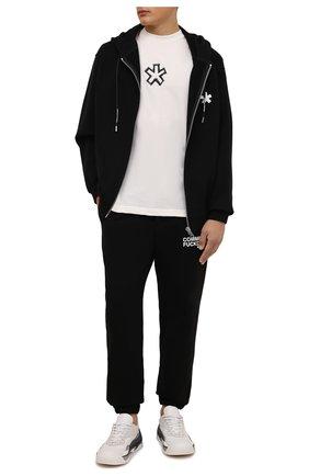 Мужская хлопковая футболка COMME DES FUCKDOWN кремвого цвета, арт. CDFU1261 | Фото 2 (Материал внешний: Хлопок; Длина (для топов): Стандартные; Рукава: Короткие; Принт: С принтом; Стили: Спорт-шик)