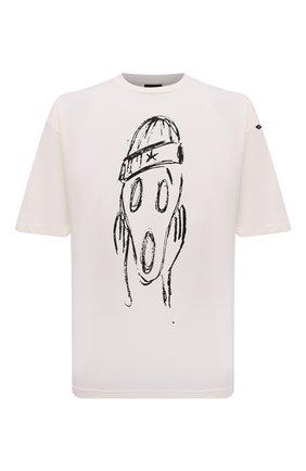 Мужская хлопковая футболка COMME DES FUCKDOWN кремвого цвета, арт. CDFU1254   Фото 1 (Длина (для топов): Стандартные; Рукава: Короткие; Материал внешний: Хлопок; Принт: С принтом; Стили: Гранж)