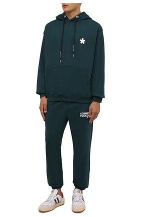 Мужской хлопковое худи COMME DES FUCKDOWN темно-зеленого цвета, арт. CDFU1240 | Фото 2 (Материал внешний: Хлопок; Длина (для топов): Стандартные; Рукава: Длинные; Мужское Кросс-КТ: Худи-одежда; Стили: Спорт-шик)