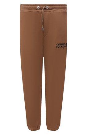 Мужские хлопковые джоггеры COMME DES FUCKDOWN бежевого цвета, арт. CDFU1234 | Фото 1 (Длина (брюки, джинсы): Стандартные; Материал внешний: Хлопок; Силуэт М (брюки): Джоггеры; Кросс-КТ: Спорт; Стили: Спорт-шик; Мужское Кросс-КТ: Брюки-трикотаж)