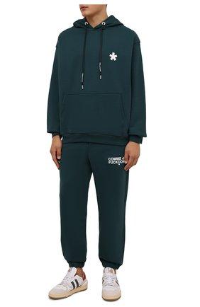 Мужские хлопковые джоггеры COMME DES FUCKDOWN темно-зеленого цвета, арт. CDFU1234 | Фото 2 (Материал внешний: Хлопок; Длина (брюки, джинсы): Стандартные; Силуэт М (брюки): Джоггеры; Кросс-КТ: Спорт; Стили: Спорт-шик; Мужское Кросс-КТ: Брюки-трикотаж)