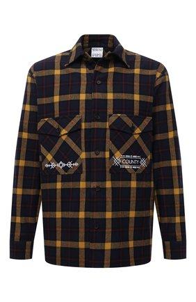 Мужская хлопковая рубашка MARCELO BURLON темно-синего цвета, арт. CMGA073F21FAB001 | Фото 1 (Материал внешний: Хлопок; Рукава: Длинные; Длина (для топов): Стандартные; Случай: Повседневный; Воротник: Кент; Принт: Клетка; Манжеты: На пуговицах; Стили: Кэжуэл)