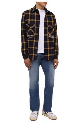 Мужская хлопковая рубашка MARCELO BURLON темно-синего цвета, арт. CMGA073F21FAB001 | Фото 2 (Материал внешний: Хлопок; Рукава: Длинные; Длина (для топов): Стандартные; Случай: Повседневный; Воротник: Кент; Принт: Клетка; Манжеты: На пуговицах; Стили: Кэжуэл)