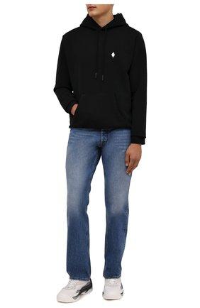 Мужской хлопковое худи MARCELO BURLON черного цвета, арт. CMBB007F21FLE006 | Фото 2 (Материал внешний: Хлопок; Рукава: Длинные; Длина (для топов): Стандартные; Мужское Кросс-КТ: Худи-одежда; Стили: Спорт-шик)