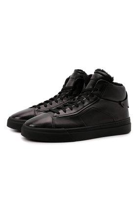 Мужские кожаные кеды SANTONI серого цвета, арт. MBGT21558NE0PG0NG62 | Фото 1 (Материал утеплителя: Натуральный мех; Подошва: Массивная)