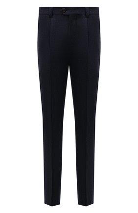 Мужские шерстяные брюки BRUNELLO CUCINELLI темно-синего цвета, арт. M038PE1450 | Фото 1 (Материал внешний: Шерсть; Случай: Формальный; Длина (брюки, джинсы): Стандартные)