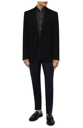 Мужские шерстяные брюки BRUNELLO CUCINELLI темно-синего цвета, арт. M038PE1450 | Фото 2 (Материал внешний: Шерсть; Случай: Формальный; Длина (брюки, джинсы): Стандартные)