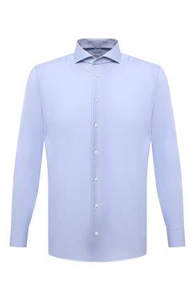 Мужская хлопковая сорочка ETON голубого цвета, арт. 1000 02608 | Фото 1 (Рукава: Длинные; Длина (для топов): Стандартные; Материал внешний: Хлопок; Воротник: Акула; Принт: Однотонные; Случай: Формальный; Рубашки М: Slim Fit; Манжеты: На пуговицах; Стили: Классический)