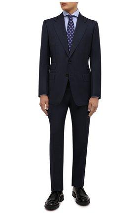 Мужская хлопковая сорочка ETON голубого цвета, арт. 1000 02608 | Фото 2 (Рукава: Длинные; Длина (для топов): Стандартные; Материал внешний: Хлопок; Воротник: Акула; Принт: Однотонные; Случай: Формальный; Рубашки М: Slim Fit; Манжеты: На пуговицах; Стили: Классический)
