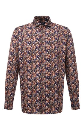 Мужская рубашка ETON коричневого цвета, арт. 1000 02553 | Фото 1 (Длина (для топов): Стандартные; Рукава: Длинные; Материал внешний: Хлопок, Лиоцелл; Случай: Повседневный; Воротник: Акула; Принт: С принтом; Рубашки М: Regular Fit; Манжеты: На пуговицах; Стили: Кэжуэл)