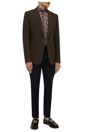 Мужская рубашка ETON коричневого цвета, арт. 1000 02553 | Фото 2 (Длина (для топов): Стандартные; Рукава: Длинные; Материал внешний: Хлопок, Лиоцелл; Случай: Повседневный; Воротник: Акула; Принт: С принтом; Рубашки М: Regular Fit; Манжеты: На пуговицах; Стили: Кэжуэл)