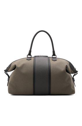 Мужская комбинированная дорожная сумка cachemire SERAPIAN хаки цвета, арт. SRCANMTR707545A | Фото 1 (Материал: Текстиль; Ремень/цепочка: На ремешке)