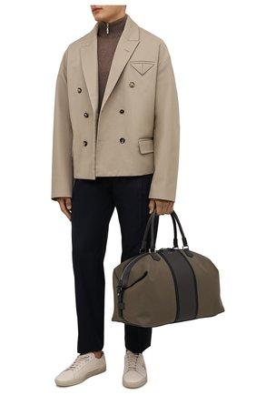 Мужская комбинированная дорожная сумка cachemire SERAPIAN хаки цвета, арт. SRCANMTR707545A | Фото 2 (Материал: Текстиль; Ремень/цепочка: На ремешке)
